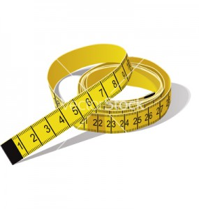 Yellow tape measure in centimeters. CMYK color.